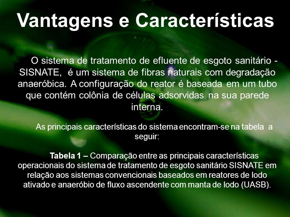 Vantagens e Características O sistema de tratamento de efluente de esgoto sanitário - SISNATE, é um sistema de fibras naturais com degradação anaeróbi