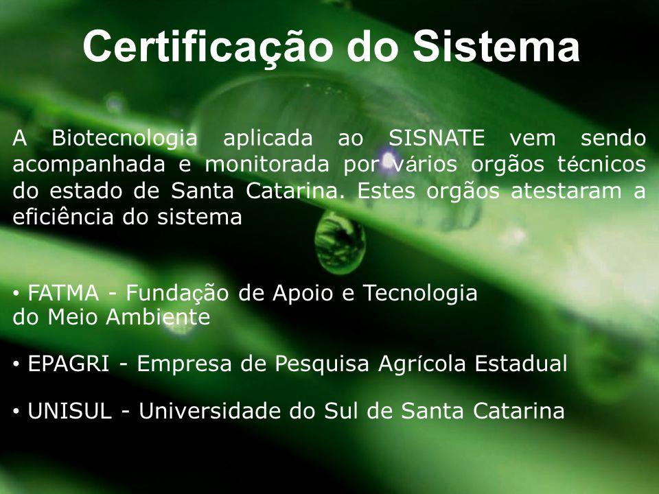 A Biotecnologia aplicada ao SISNATE vem sendo acompanhada e monitorada por v á rios orgãos t é cnicos do estado de Santa Catarina. Estes orgãos atesta