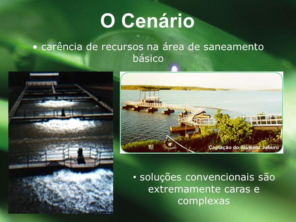 • solu ç ões convencionais são extremamente caras e complexas O Cenário • carência de recursos na área de saneamento básico