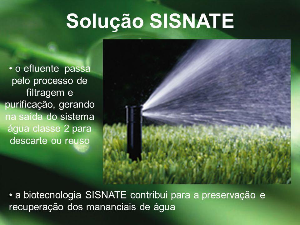 • a biotecnologia SISNATE contribui para a preservação e recuperação dos mananciais de água Solução SISNATE • o efluente passa pelo processo de filtra