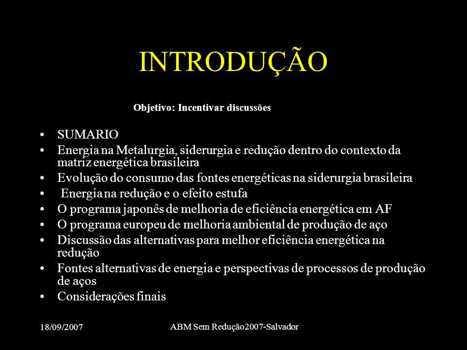 18/09/2007 ABM Sem Redução2007-Salvador INTRODUÇÃO Objetivo: Incentivar discussões •SUMARIO •Energia na Metalurgia, siderurgia e redução dentro do con