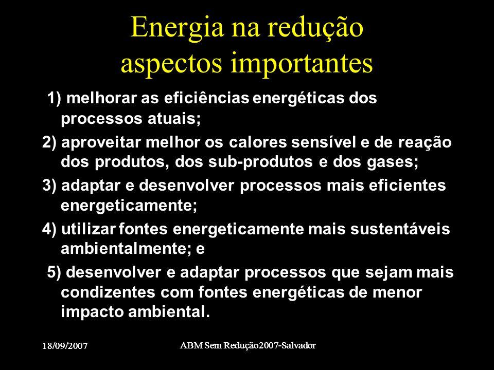 18/09/2007 ABM Sem Redução2007-Salvador 18/09/2007 ABM Sem Redução2007-Salvador Energia na redução aspectos importantes 1) melhorar as eficiências ene
