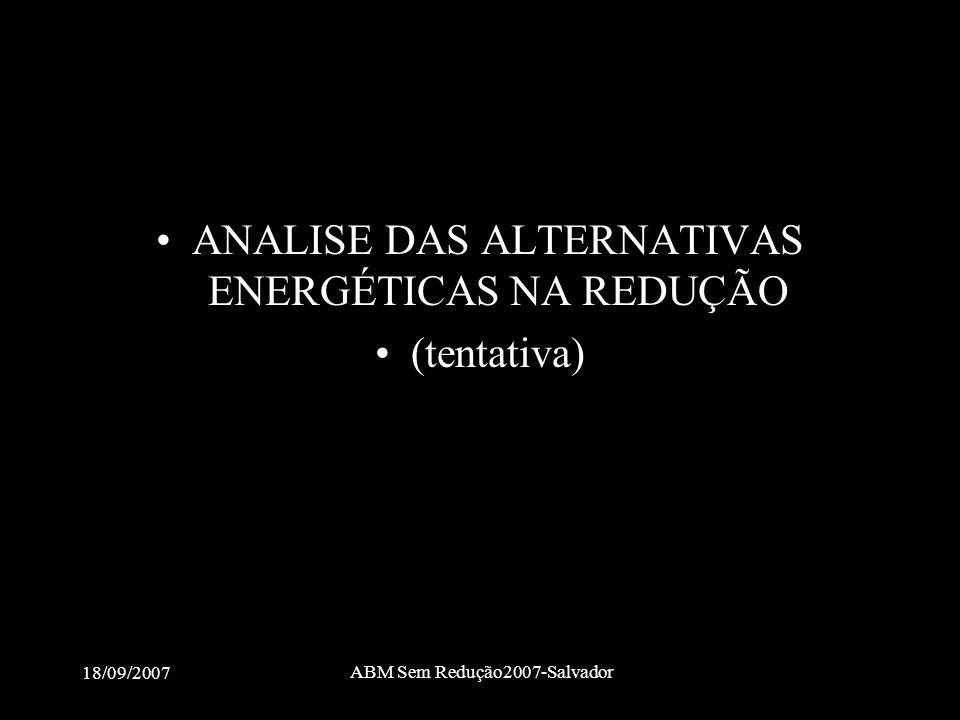 18/09/2007 ABM Sem Redução2007-Salvador •ANALISE DAS ALTERNATIVAS ENERGÉTICAS NA REDUÇÃO •(tentativa)