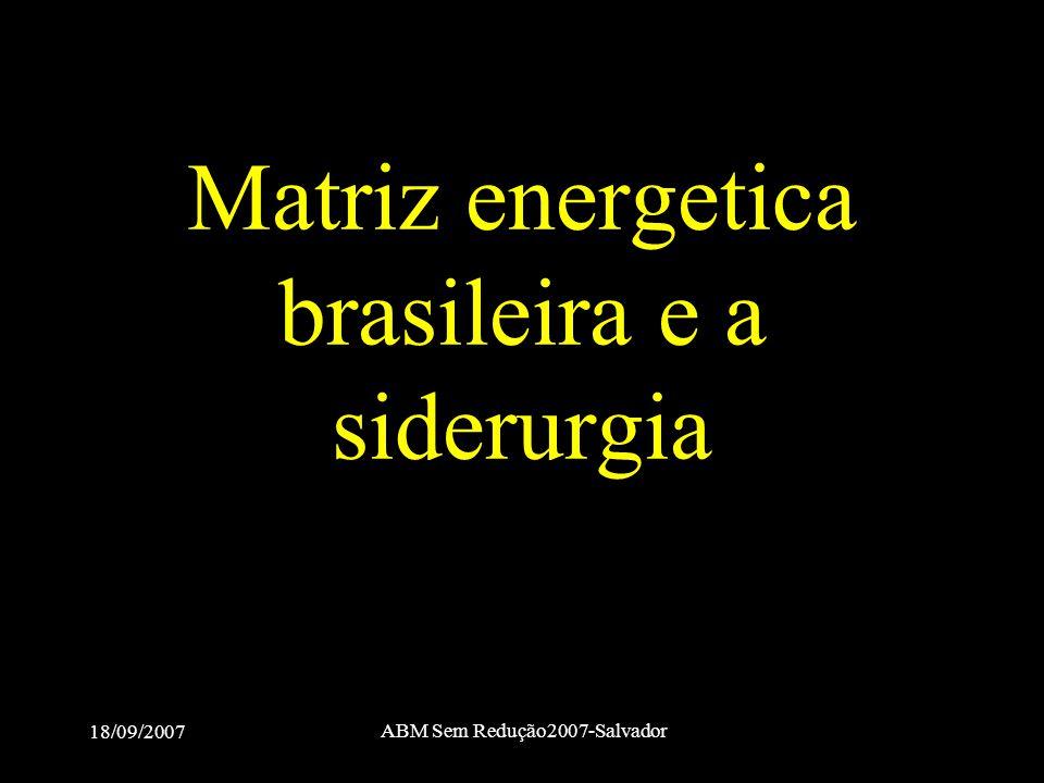 18/09/2007 ABM Sem Redução2007-Salvador Matriz energetica brasileira e a siderurgia