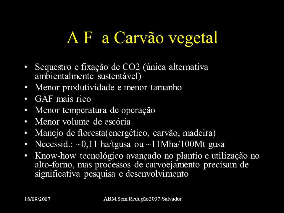 18/09/2007 ABM Sem Redução2007-Salvador A F a Carvão vegetal •Sequestro e fixação de CO2 (única alternativa ambientalmente sustentável) •Menor produti
