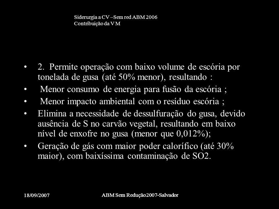 18/09/2007 ABM Sem Redução2007-Salvador 18/09/2007 ABM Sem Redução2007-Salvador •2. Permite operação com baixo volume de escória por tonelada de gusa
