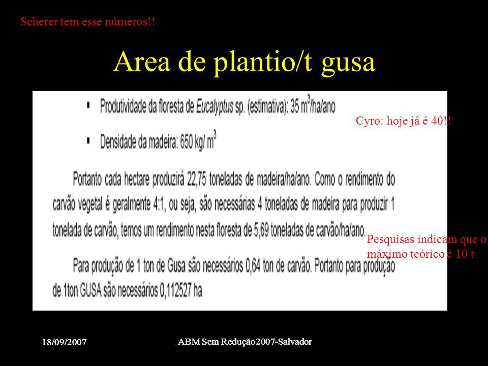 18/09/2007 ABM Sem Redução2007-Salvador 18/09/2007 ABM Sem Redução2007-Salvador Area de plantio/t gusa Cyro: hoje já é 40!! Pesquisas indicam que o má