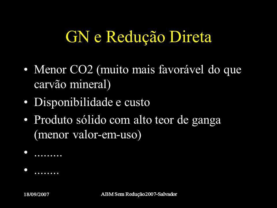 18/09/2007 ABM Sem Redução2007-Salvador 18/09/2007 ABM Sem Redução2007-Salvador GN e Redução Direta •Menor CO2 (muito mais favorável do que carvão min