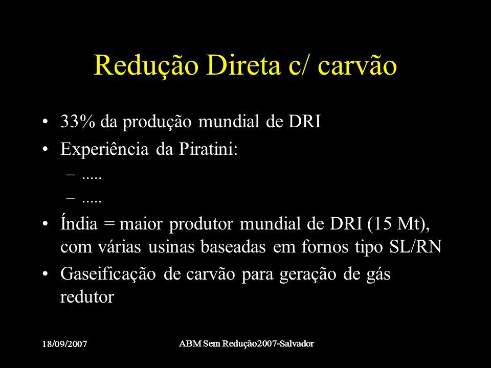 18/09/2007 ABM Sem Redução2007-Salvador 18/09/2007 ABM Sem Redução2007-Salvador Redução Direta c/ carvão •33% da produção mundial de DRI •Experiência