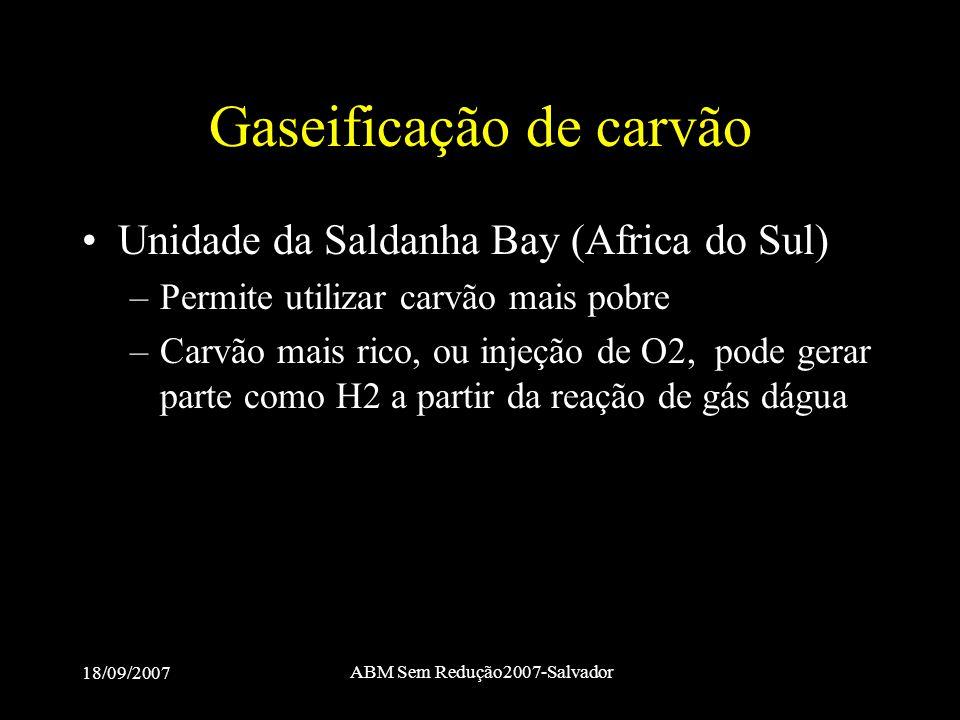 18/09/2007 ABM Sem Redução2007-Salvador Gaseificação de carvão •Unidade da Saldanha Bay (Africa do Sul) –Permite utilizar carvão mais pobre –Carvão ma