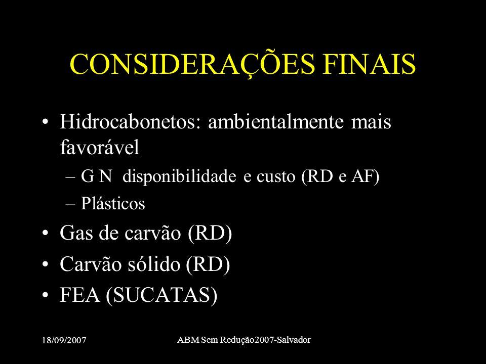 18/09/2007 ABM Sem Redução2007-Salvador CONSIDERAÇÕES FINAIS •Hidrocabonetos: ambientalmente mais favorável –G N disponibilidade e custo (RD e AF) –Pl