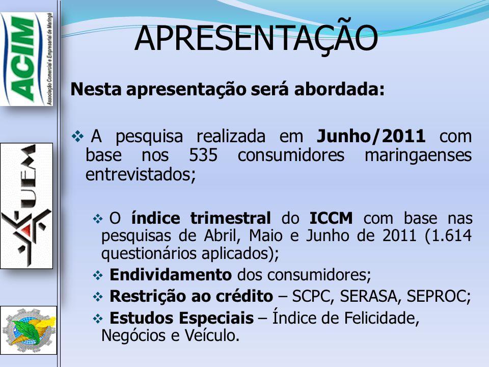 ICCM –Junho de 2011ICCM –Junho de 2011 Índices Jun/10Mai/11Jun/11 ▲pp (3)-(2) ▲pp (3)-(1) ISF – Índice de Satisfação Financeira 153,9147,5159,1 11,65,2 IER – Índice de Expectativa de Renda 119,1113,9110,3 -3,6-8,8 IEE – Índice de Expectativa de Emprego 115,0118,9119,8 0,94,8 IEC – Índice de Expectativa de Consumo 136,5148,8130,1 -18,7-6,4 IEN – Índice de Expectativa Nacional 131,5141,4139,8 -1,68,3 ICCM 131,2134,1131,8 -2,30,6