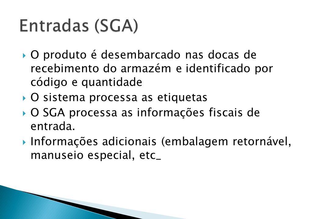  O produto é desembarcado nas docas de recebimento do armazém e identificado por código e quantidade  O sistema processa as etiquetas  O SGA proces