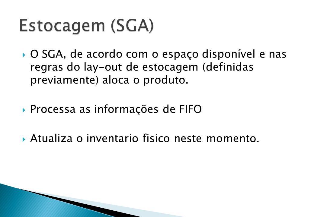 O SGA, de acordo com o espaço disponível e nas regras do lay-out de estocagem (definidas previamente) aloca o produto.  Processa as informações de