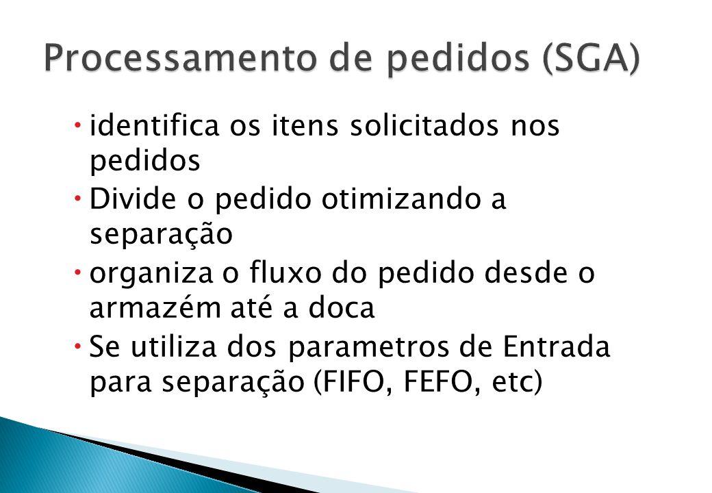  identifica os itens solicitados nos pedidos  Divide o pedido otimizando a separação  organiza o fluxo do pedido desde o armazém até a doca  Se ut