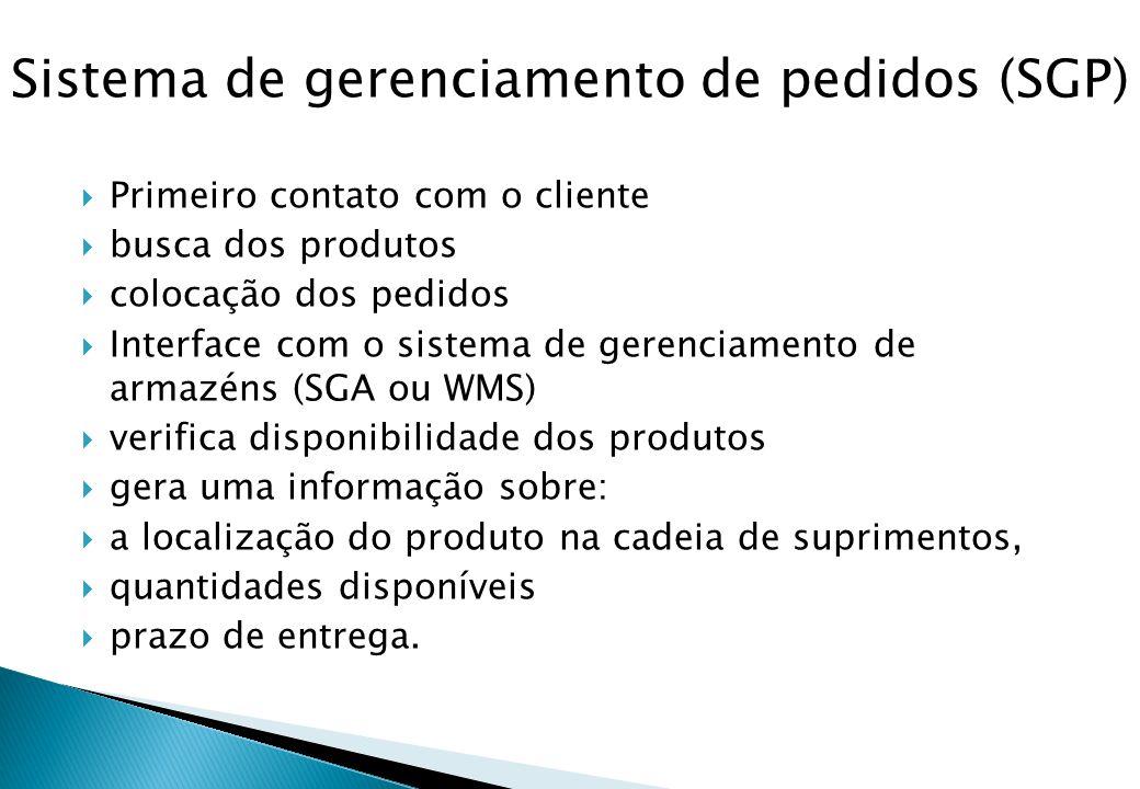  Primeiro contato com o cliente  busca dos produtos  colocação dos pedidos  Interface com o sistema de gerenciamento de armazéns (SGA ou WMS)  ve