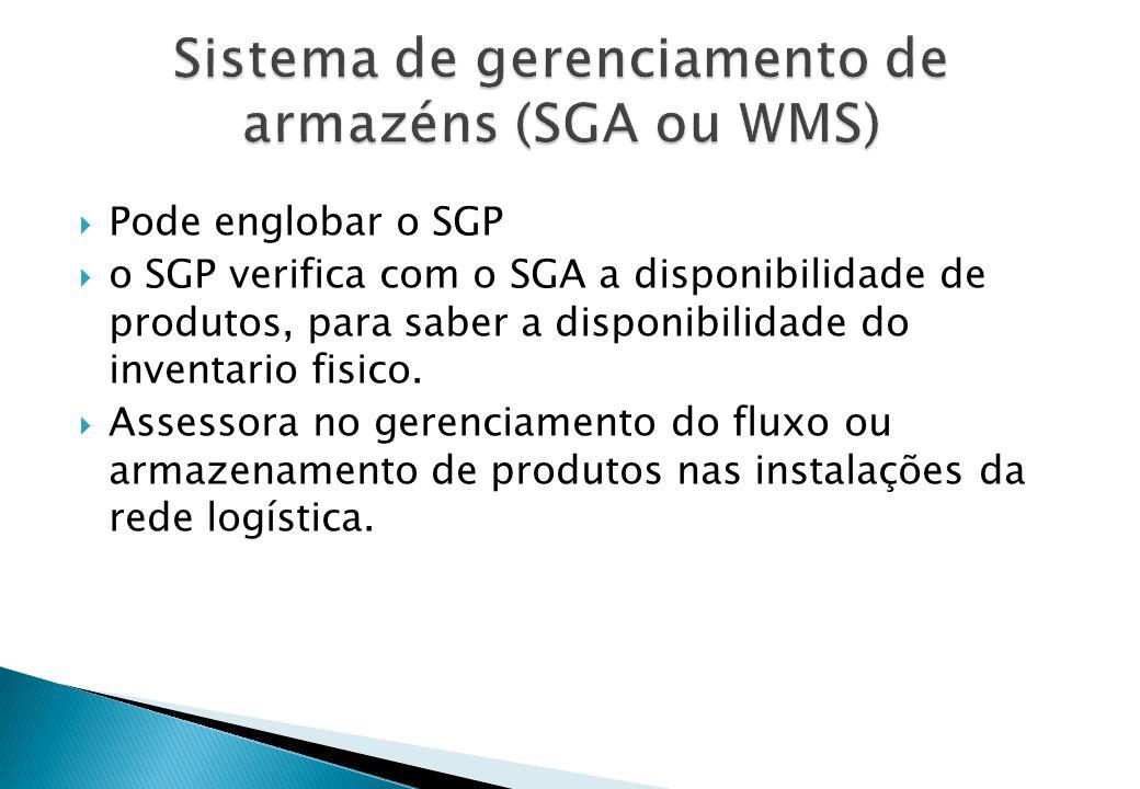  Pode englobar o SGP  o SGP verifica com o SGA a disponibilidade de produtos, para saber a disponibilidade do inventario fisico.  Assessora no gere