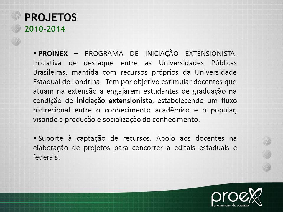 PROJETOS 2010-2014  PROINEX – PROGRAMA DE INICIAÇÃO EXTENSIONISTA. Iniciativa de destaque entre as Universidades Públicas Brasileiras, mantida com re