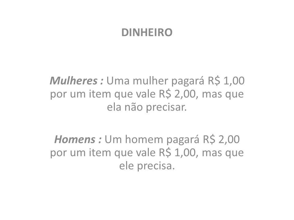 DINHEIRO Mulheres : Uma mulher pagará R$ 1,00 por um item que vale R$ 2,00, mas que ela não precisar. Homens : Um homem pagará R$ 2,00 por um item que