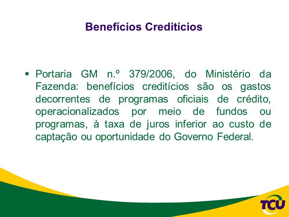  Portaria GM n.º 379/2006, do Ministério da Fazenda: benefícios creditícios são os gastos decorrentes de programas oficiais de crédito, operacionalizados por meio de fundos ou programas, à taxa de juros inferior ao custo de captação ou oportunidade do Governo Federal.