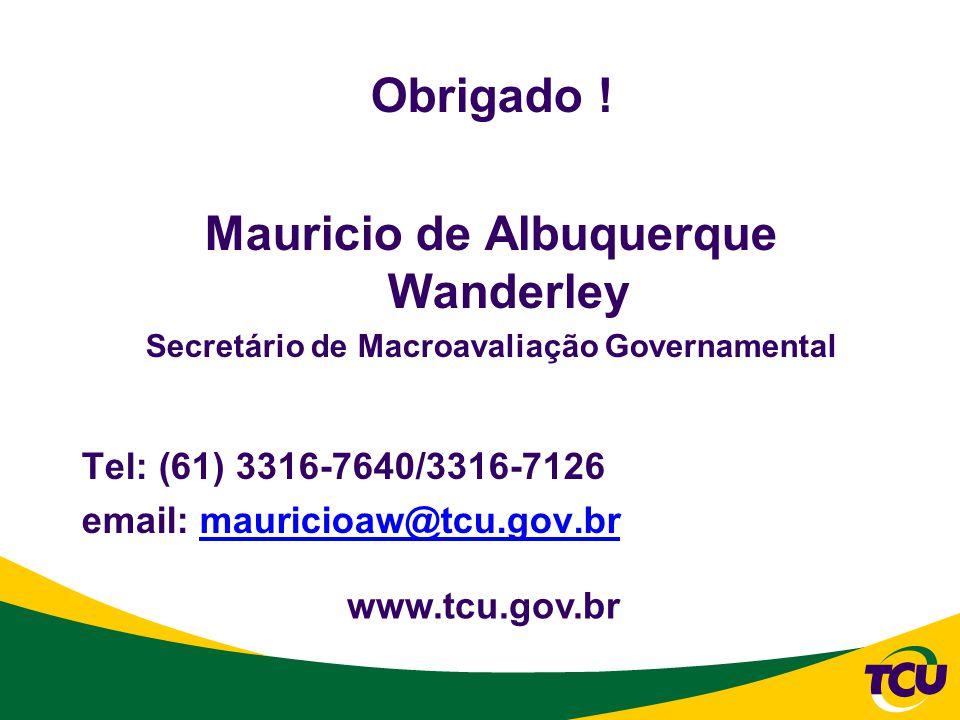 Obrigado ! Mauricio de Albuquerque Wanderley Secretário de Macroavaliação Governamental Tel: (61) 3316-7640/3316-7126 email: mauricioaw@tcu.gov.brmaur