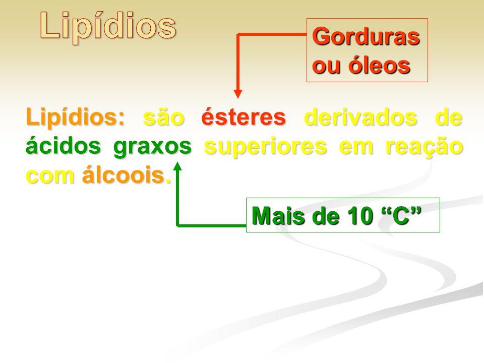 """Lipídios: são ésteres derivados de ácidos graxos superiores em reação com álcoois. Gorduras ou óleos Mais de 10 """"C"""""""