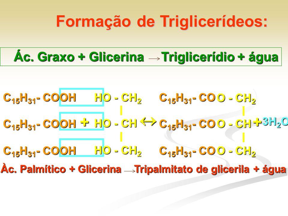 + Formação de Triglicerídeos: Ác. Graxo + Glicerina Triglicerídio + água C 15 H 31 - COOH HO - CH 2 HO - CH HO - CH 2 C 15 H 31 - COOH  C 15 H 31 - C