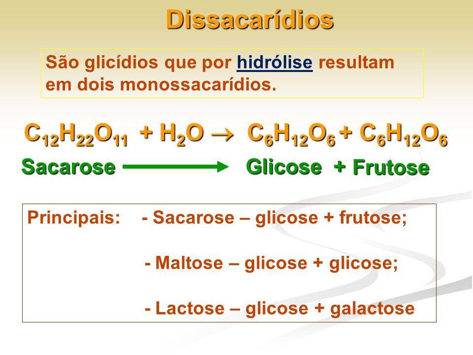 Dissacarídios São glicídios que por hidrólise resultam em dois monossacarídios. C 12 H 22 O 11 + H 2 O  C 6 H 12 O 6 + C 6 H 12 O 6 Sacarose Glicose