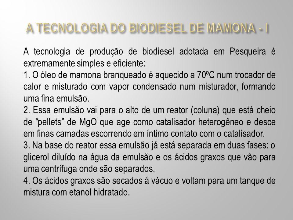 A tecnologia de produção de biodiesel adotada em Pesqueira é extremamente simples e eficiente: 1. O óleo de mamona branqueado é aquecido a 70ºC num tr