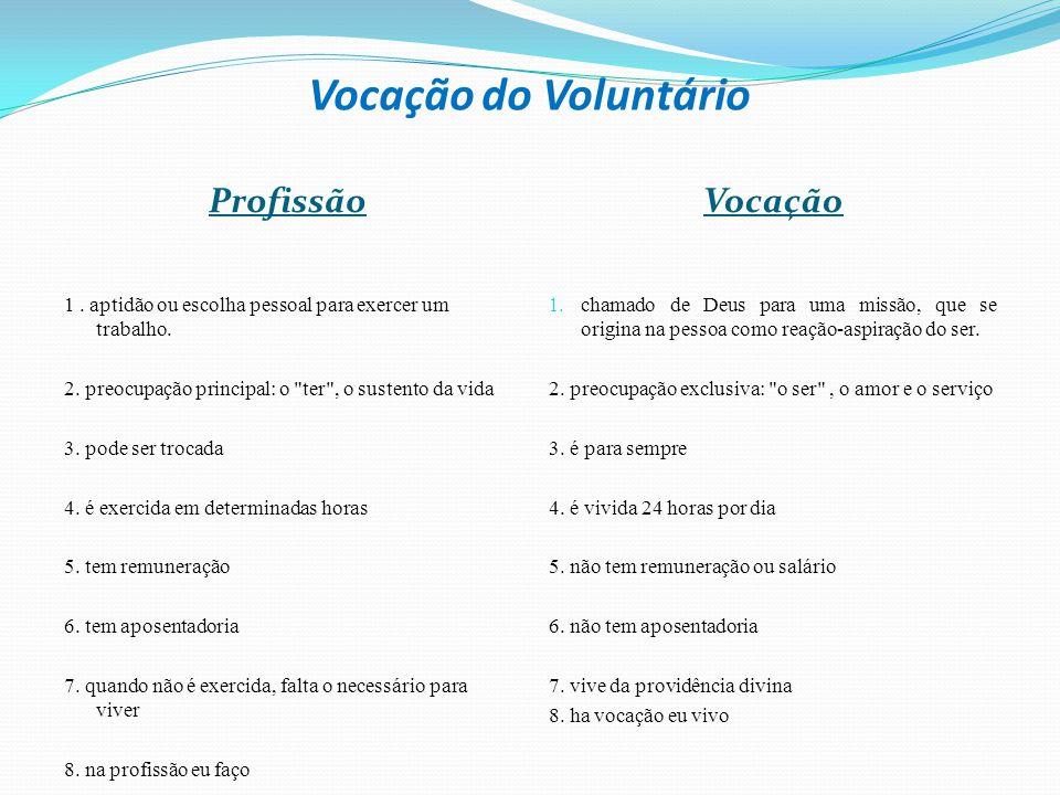 Vocação do Voluntário ProfissãoVocação 1. aptidão ou escolha pessoal para exercer um trabalho. 2. preocupação principal: o