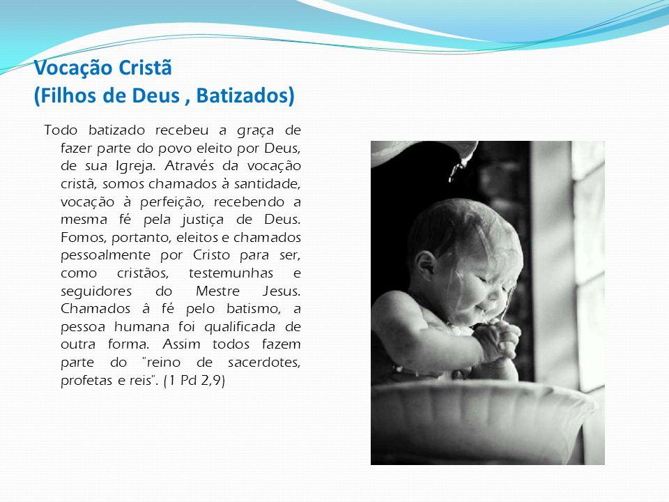 Vocação Cristã (Filhos de Deus, Batizados) Todo batizado recebeu a graça de fazer parte do povo eleito por Deus, de sua Igreja. Através da vocação cri