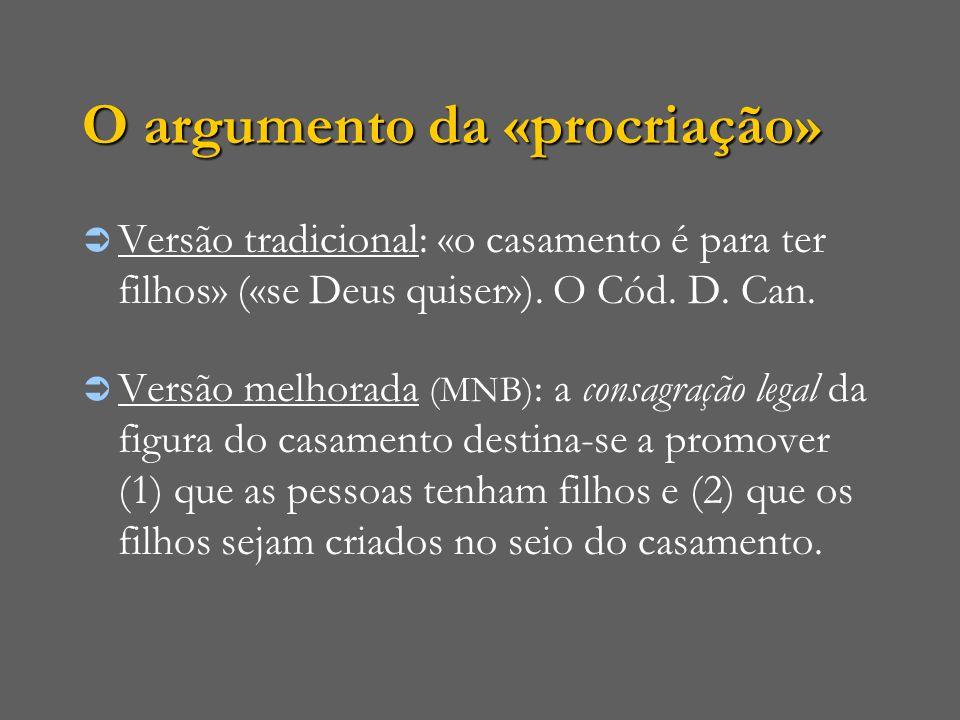 O argumento da «procriação»  Versão tradicional: «o casamento é para ter filhos» («se Deus quiser»). O Cód. D. Can.  Versão melhorada (MNB) : a cons