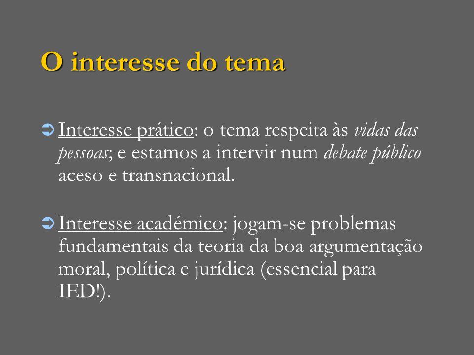 O interesse do tema  Interesse prático: o tema respeita às vidas das pessoas; e estamos a intervir num debate público aceso e transnacional.  Intere