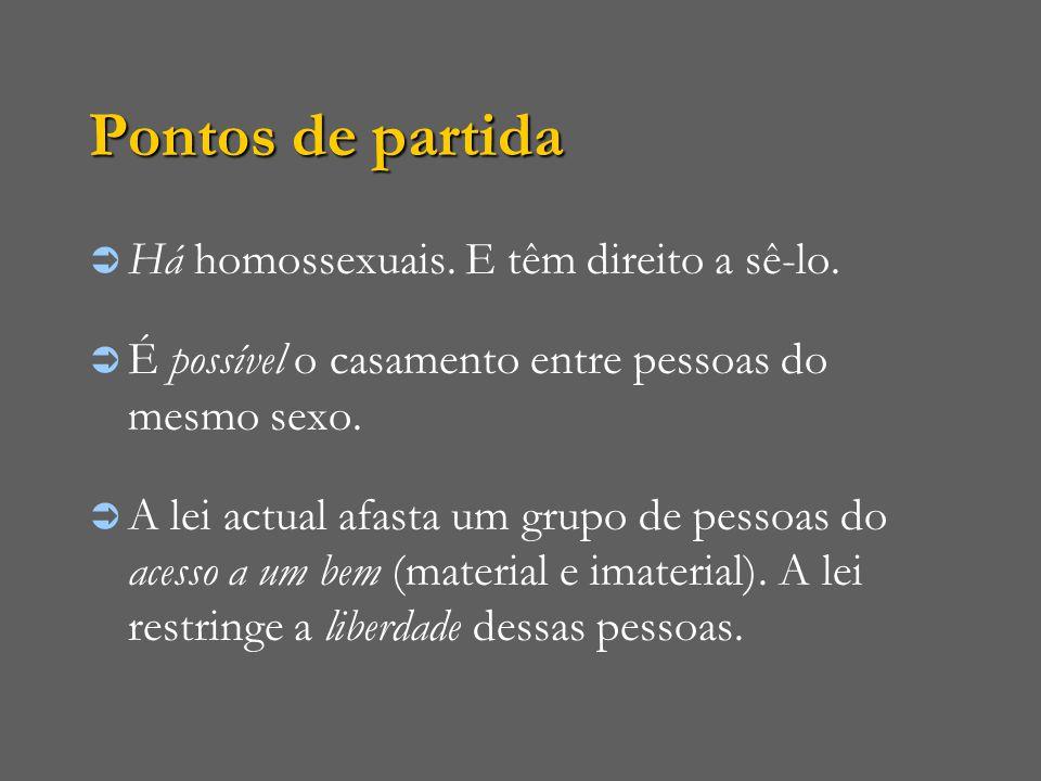 Pontos de partida  Há homossexuais. E têm direito a sê-lo.  É possível o casamento entre pessoas do mesmo sexo.  A lei actual afasta um grupo de pe