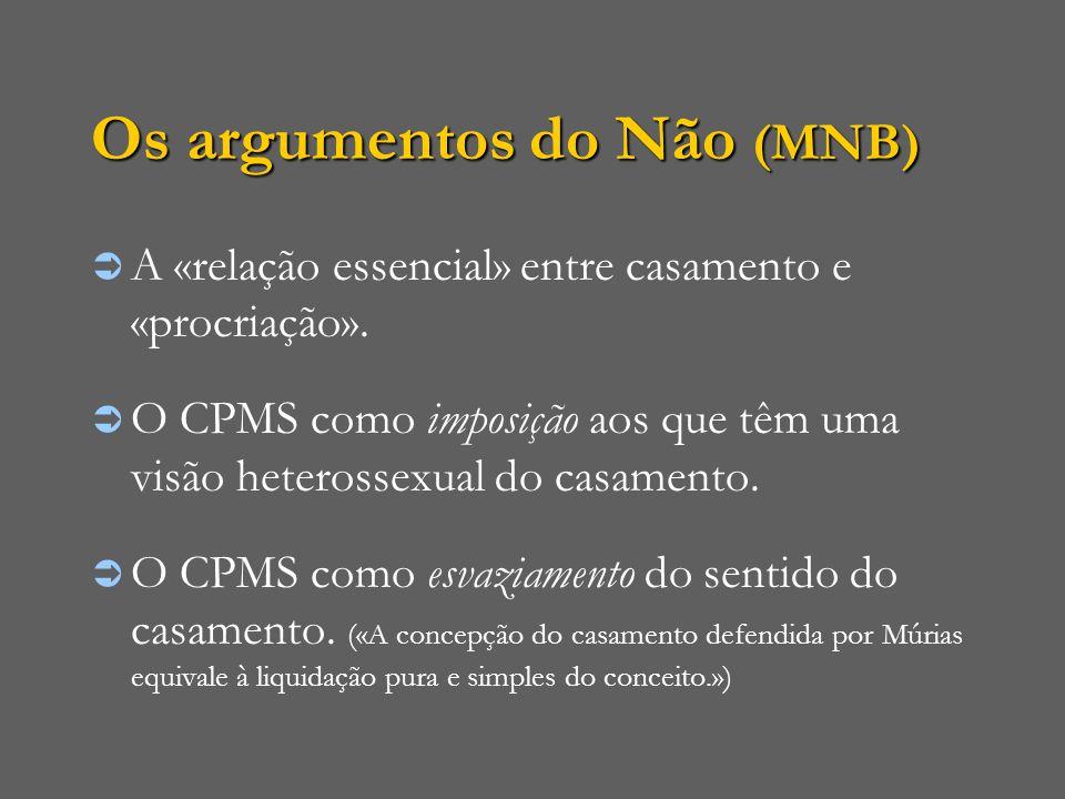 Os argumentos do Não (MNB)  A «relação essencial» entre casamento e «procriação».  O CPMS como imposição aos que têm uma visão heterossexual do casa