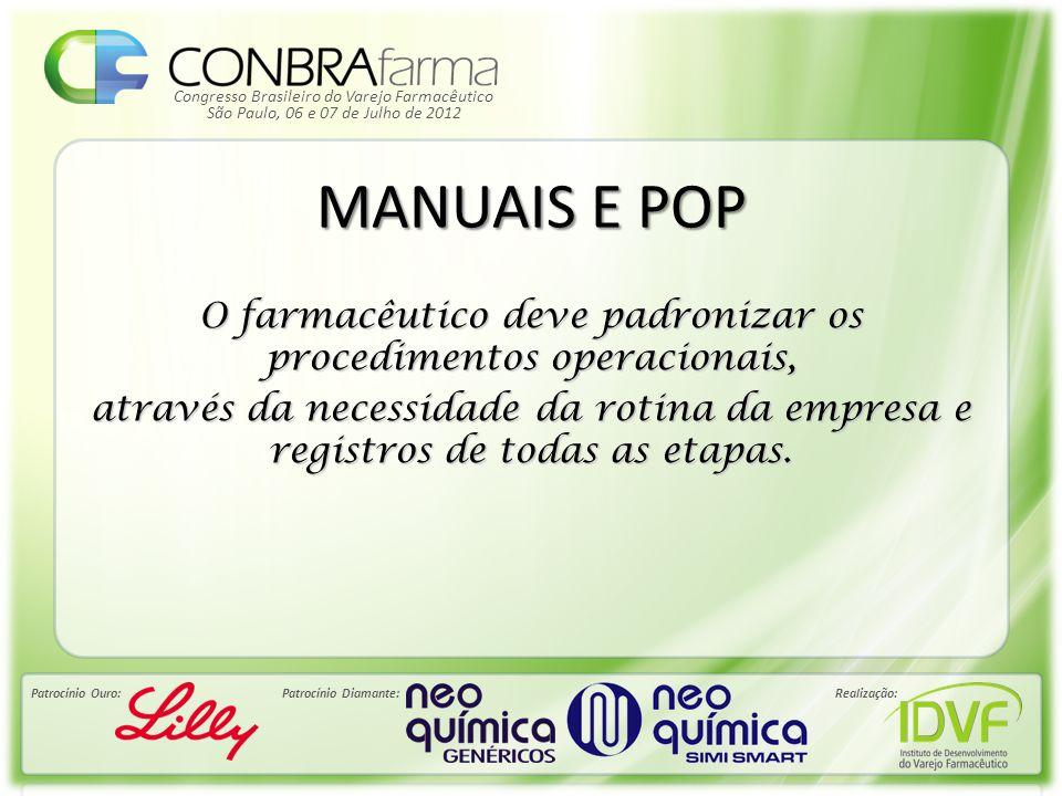 Congresso Brasileiro do Varejo Farmacêutico Patrocínio Ouro:Patrocínio Diamante:Realização: São Paulo, 06 e 07 de Julho de 2012 MANUAIS E POP O farmac