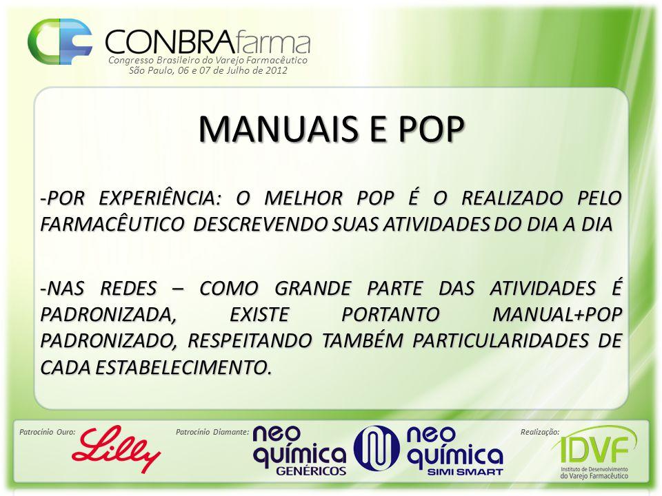 Congresso Brasileiro do Varejo Farmacêutico Patrocínio Ouro:Patrocínio Diamante:Realização: São Paulo, 06 e 07 de Julho de 2012 MANUAIS E POP -POR EXP