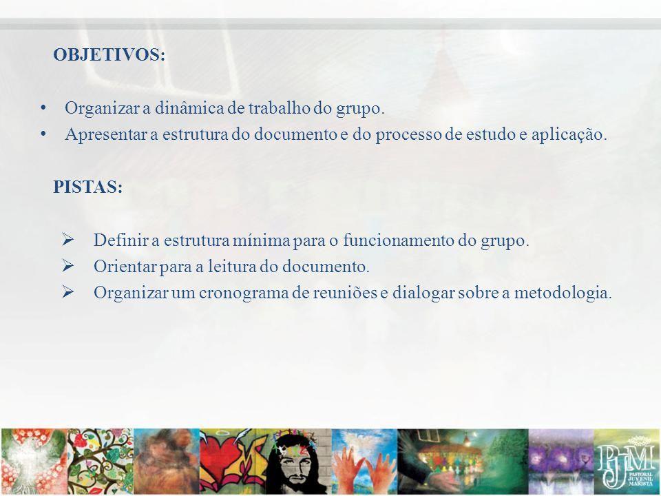 OBJETIVOS: • Organizar a dinâmica de trabalho do grupo.