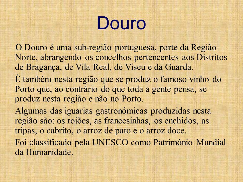 Douro O Douro é uma sub-região portuguesa, parte da Região Norte, abrangendo os concelhos pertencentes aos Distritos de Bragança, de Vila Real, de Vis