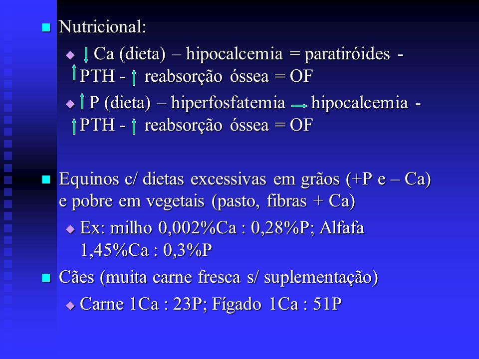  Nutricional:  Ca (dieta) – hipocalcemia = paratiróides - PTH - reabsorção óssea = OF  P (dieta) – hiperfosfatemia hipocalcemia - PTH - reabsorção