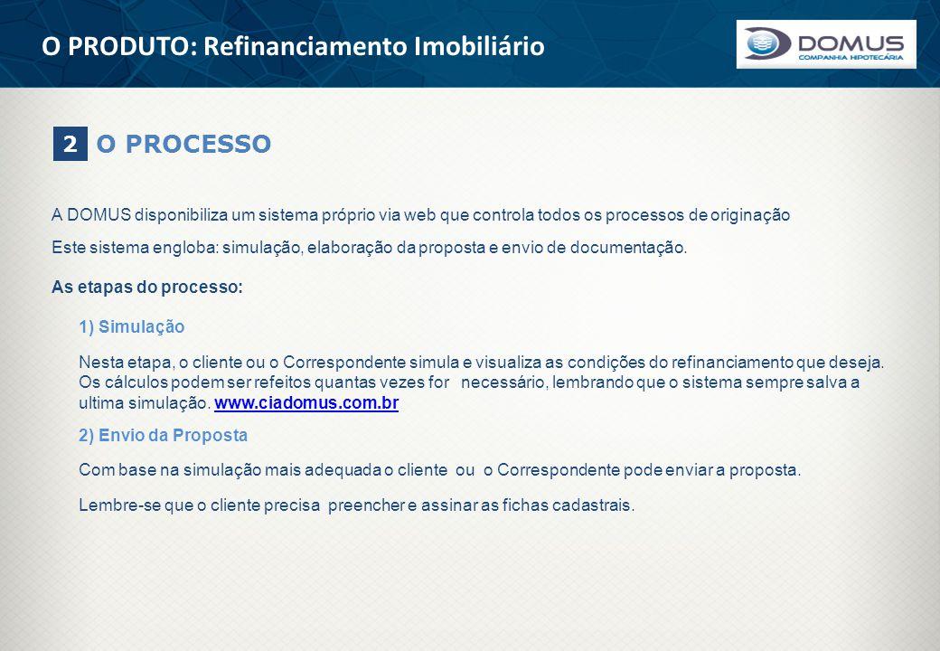 O PRODUTO: Refinanciamento Imobiliário O PROCESSO 2 A DOMUS disponibiliza um sistema próprio via web que controla todos os processos de originação Est