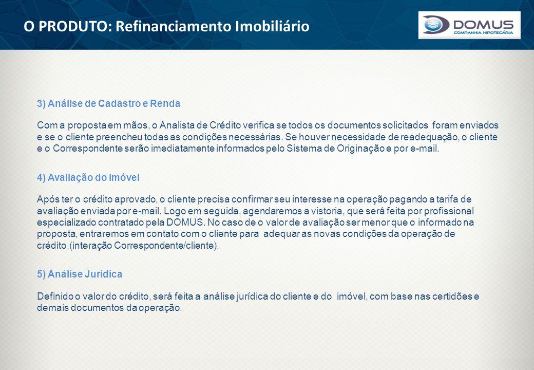 O PRODUTO: Refinanciamento Imobiliário 3) Análise de Cadastro e Renda Com a proposta em mãos, o Analista de Crédito verifica se todos os documentos so