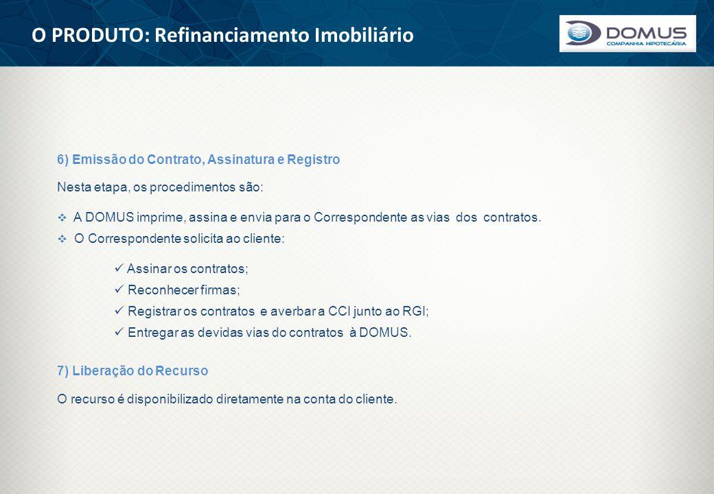 O PRODUTO: Refinanciamento Imobiliário 6) Emissão do Contrato, Assinatura e Registro Nesta etapa, os procedimentos são:  A DOMUS imprime, assina e en