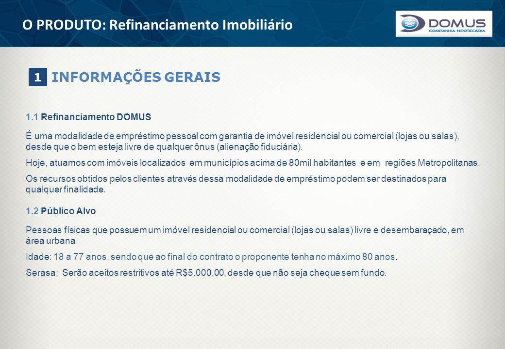 O PRODUTO: Refinanciamento Imobiliário INFORMAÇÕES GERAIS 1 1.1 Refinanciamento DOMUS É uma modalidade de empréstimo pessoal com garantia de imóvel re