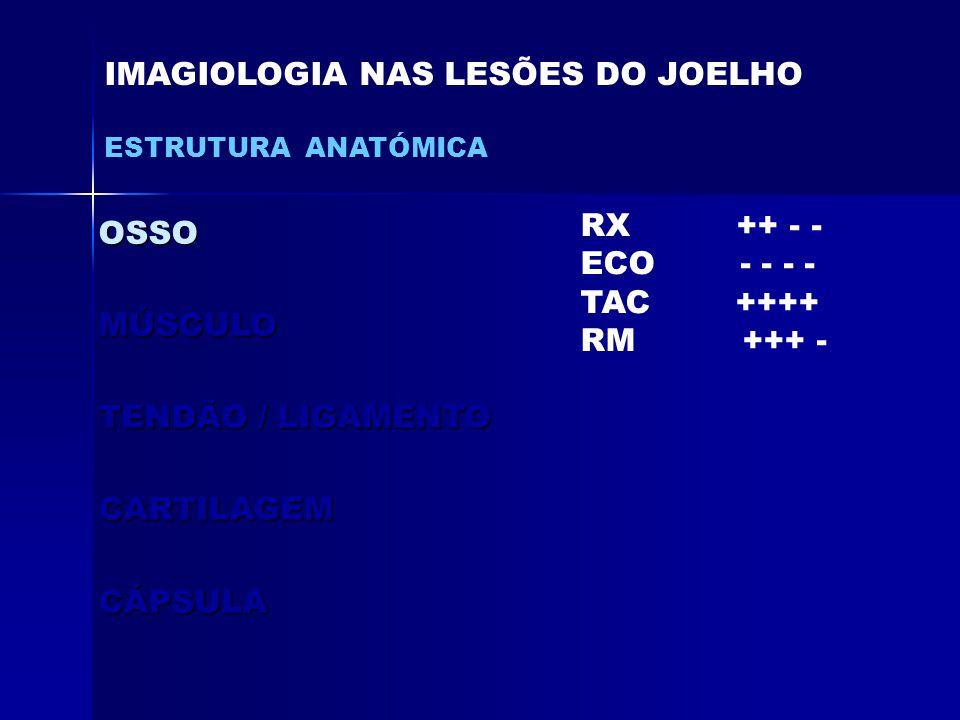 OSSOMÚSCULO TENDÃO / LIGAMENTO CARTILAGEMCÁPSULA IMAGIOLOGIA NAS LESÕES DO JOELHO ESTRUTURA ANATÓMICA RX ++ - - ECO - - - - TAC ++++ RM +++ -