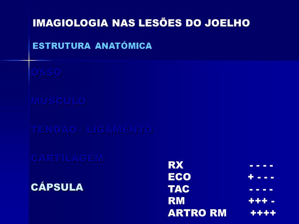 OSSOMÚSCULO TENDÃO / LIGAMENTO CARTILAGEMCÁPSULA IMAGIOLOGIA NAS LESÕES DO JOELHO ESTRUTURA ANATÓMICA RX - - - - ECO + - - - TAC - - - - RM +++ - ARTRO RM ++++