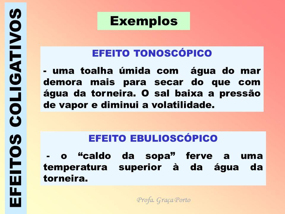 EFEITOS COLIGATIVOS Exemplos EFEITO TONOSCÓPICO - uma toalha úmida com água do mar demora mais para secar do que com água da torneira. O sal baixa a p
