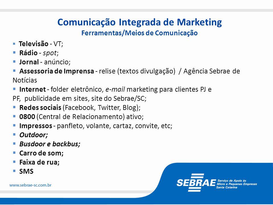 Comunicação Integrada de Marketing Ferramentas/Meios de Comunicação  Televisão - VT;  Rádio - spot;  Jornal - anúncio;  Assessoria de Imprensa - r