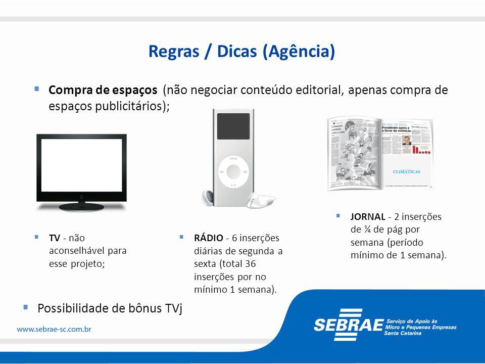 Regras / Dicas (Agência)  Compra de espaços (não negociar conteúdo editorial, apenas compra de espaços publicitários);  Possibilidade de bônus TVj 