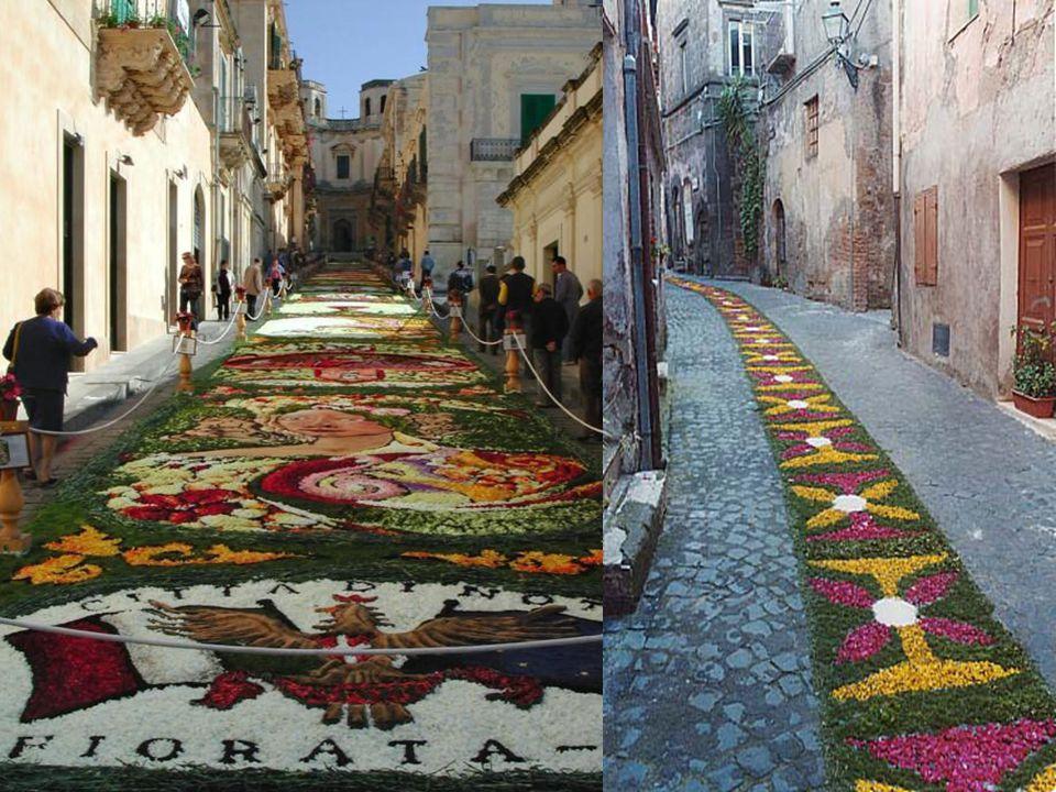 Já em Spello, perto de Perugia, acontece o concurso Le Infiorate ; que são quadros compostos com flores de todos os tipos e cores e de menores proporções.
